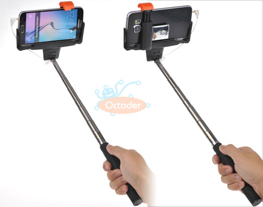 wired shutter release handheld selfie stick monopod for iphone 6 6plus 5s 5c 5 ebay. Black Bedroom Furniture Sets. Home Design Ideas