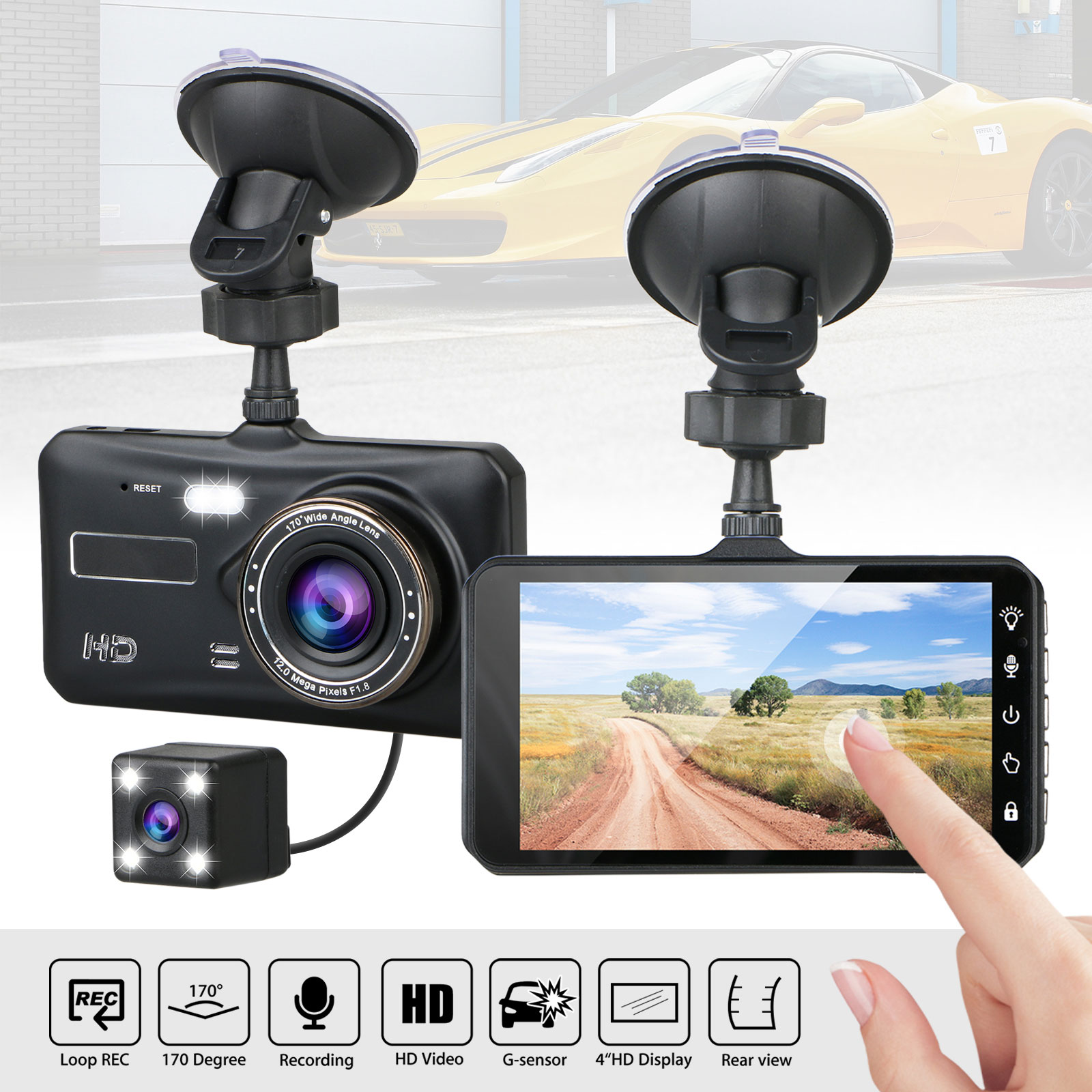 4 dual lens touch screen 1080p hd