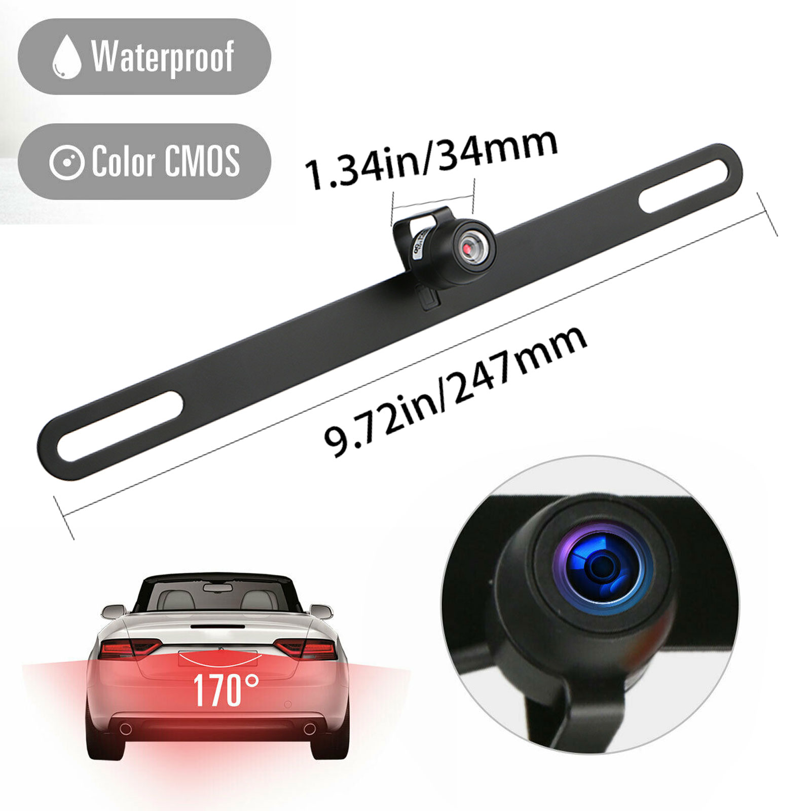 AUTO-VOX 170° Rear View Reverse License Plate Parking Backu