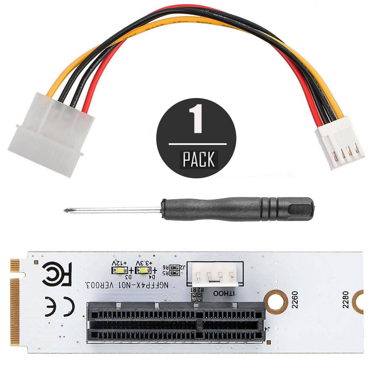 Lot-M-2-Key-NGFF-to-PCI-E-4X-Adapter-Card-4-PIN-Power-Cable-for-Desktop-Laptop thumbnail 10