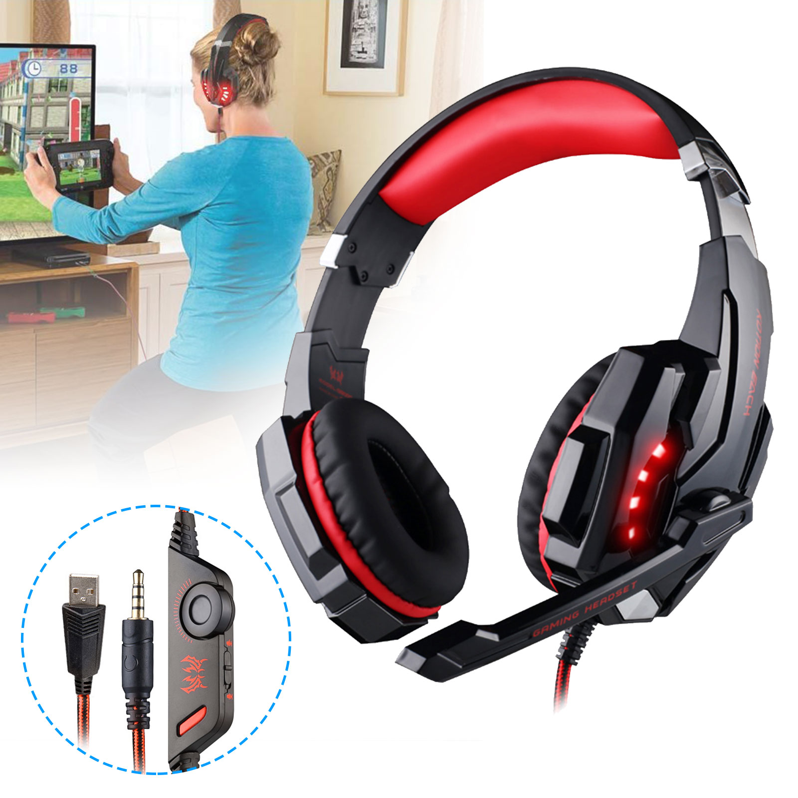Details about For PS4 Xbox One PC Mac 3 5mm Wired Gaming Headset Mic Stereo  Surround Headphone