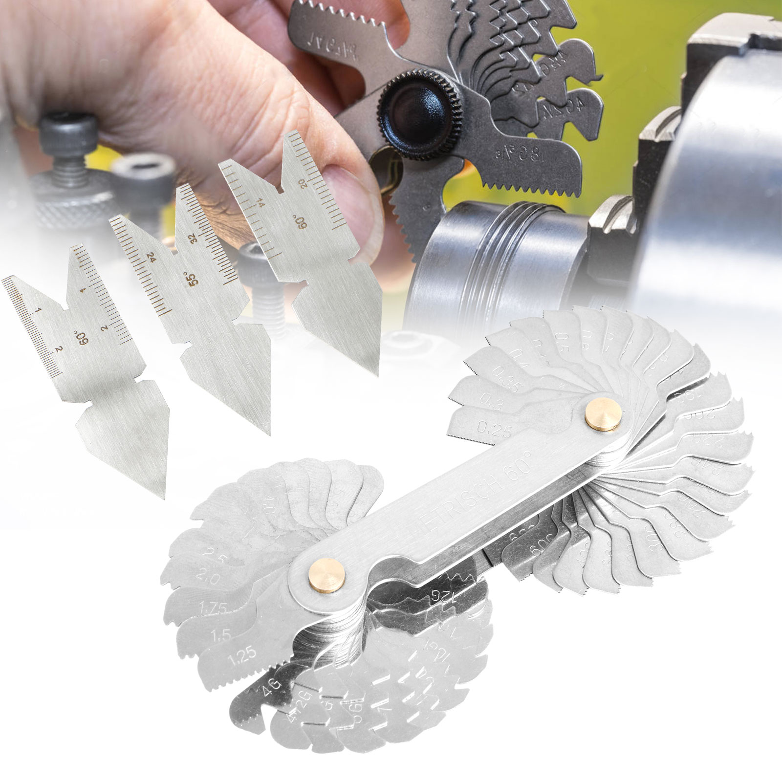 Screw Thread  Cutting Gauge Tool Set Centre  55°/&60° Inch/&Metric Hot Sale