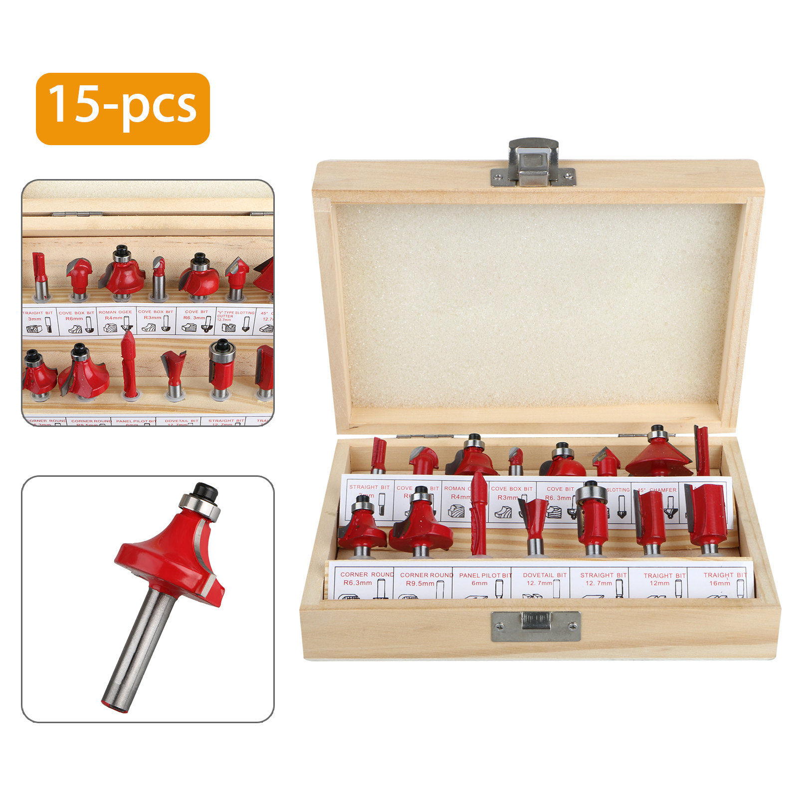 15X 8mm Shank Cemented Carbide Router Bit Set Metric Woodworking Milling Cutter