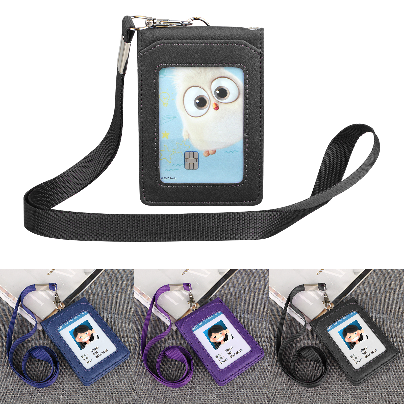Lanyard-ID-Holder-Wallet-Badge-Neck-Strap-Leather-Credit-Card-Business-5-Slot thumbnail 9