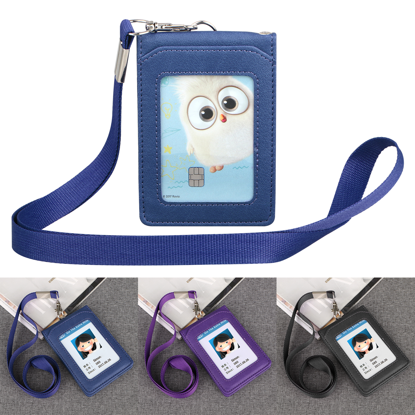 Lanyard-ID-Holder-Wallet-Badge-Neck-Strap-Leather-Credit-Card-Business-5-Slot thumbnail 10