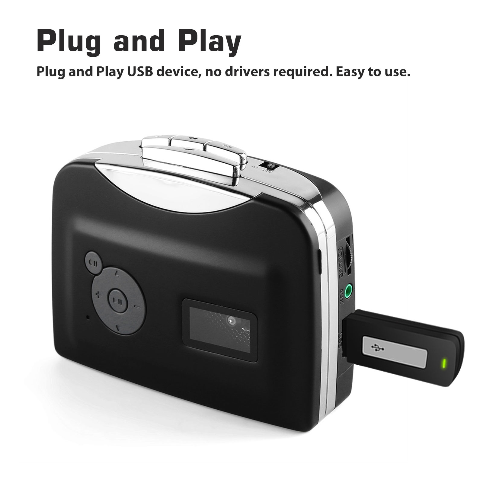 Tape-to-PC-USB-Cassette-MP3-CD-File-Converter-Capture-Digital-Audio-Music-Player thumbnail 2