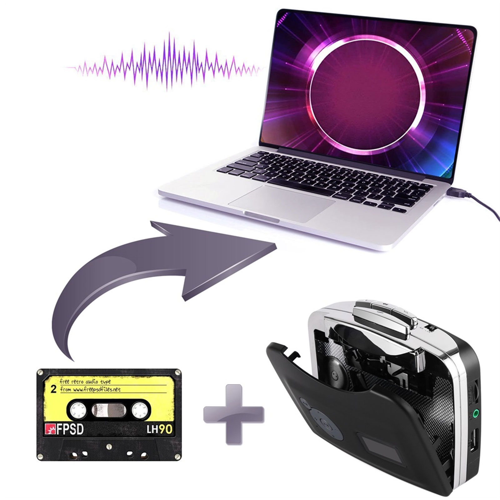 Tape-to-PC-USB-Cassette-MP3-CD-File-Converter-Capture-Digital-Audio-Music-Player thumbnail 4