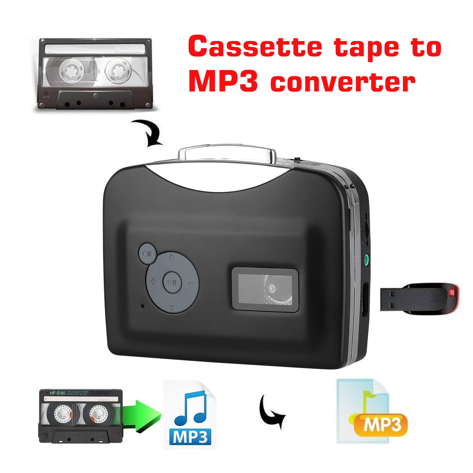 Tape-to-PC-USB-Cassette-MP3-CD-File-Converter-Capture-Digital-Audio-Music-Player