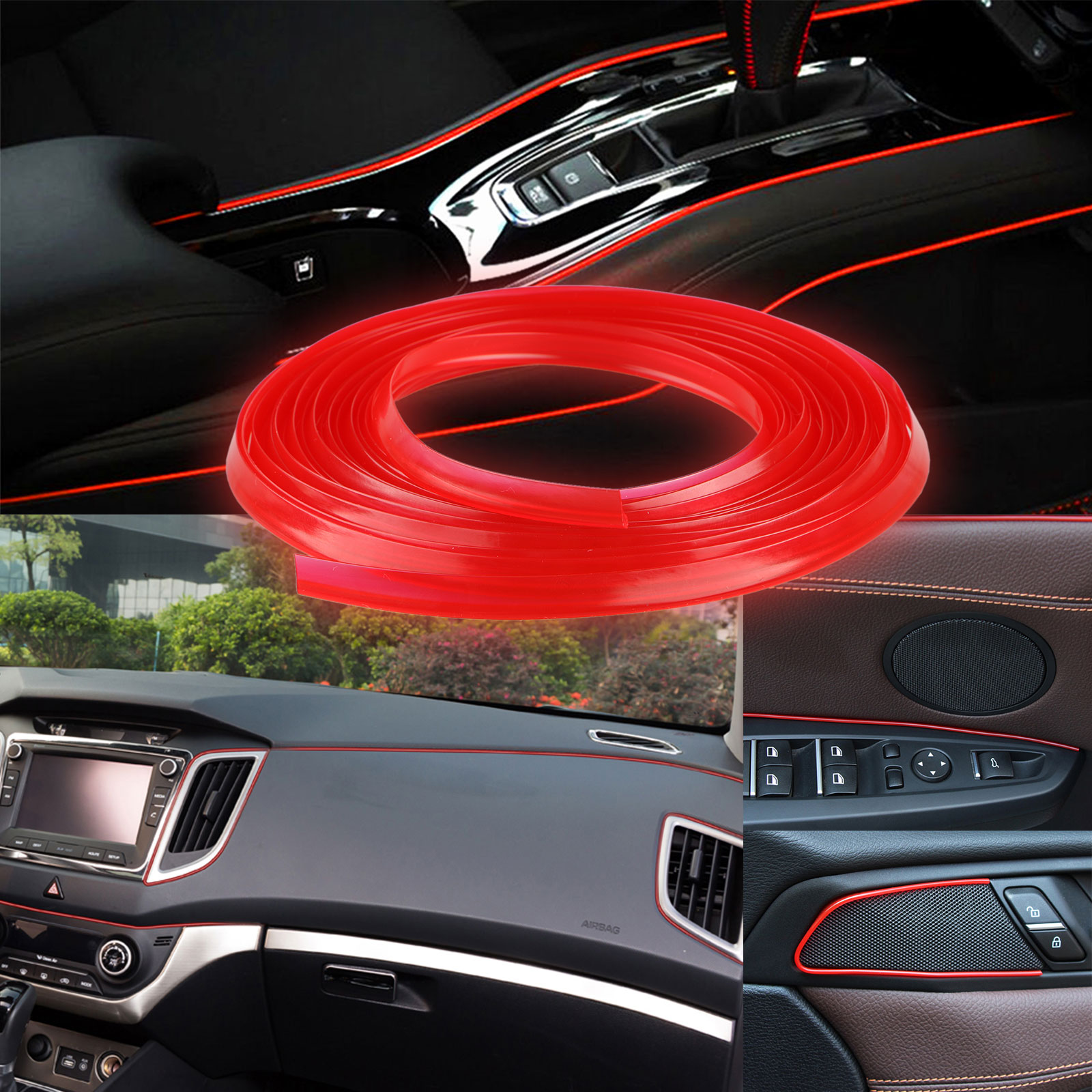 Car Parts - 5M Door Gap Trim Molding Moulding Line Edge Strip Red For Car Interior Accessory