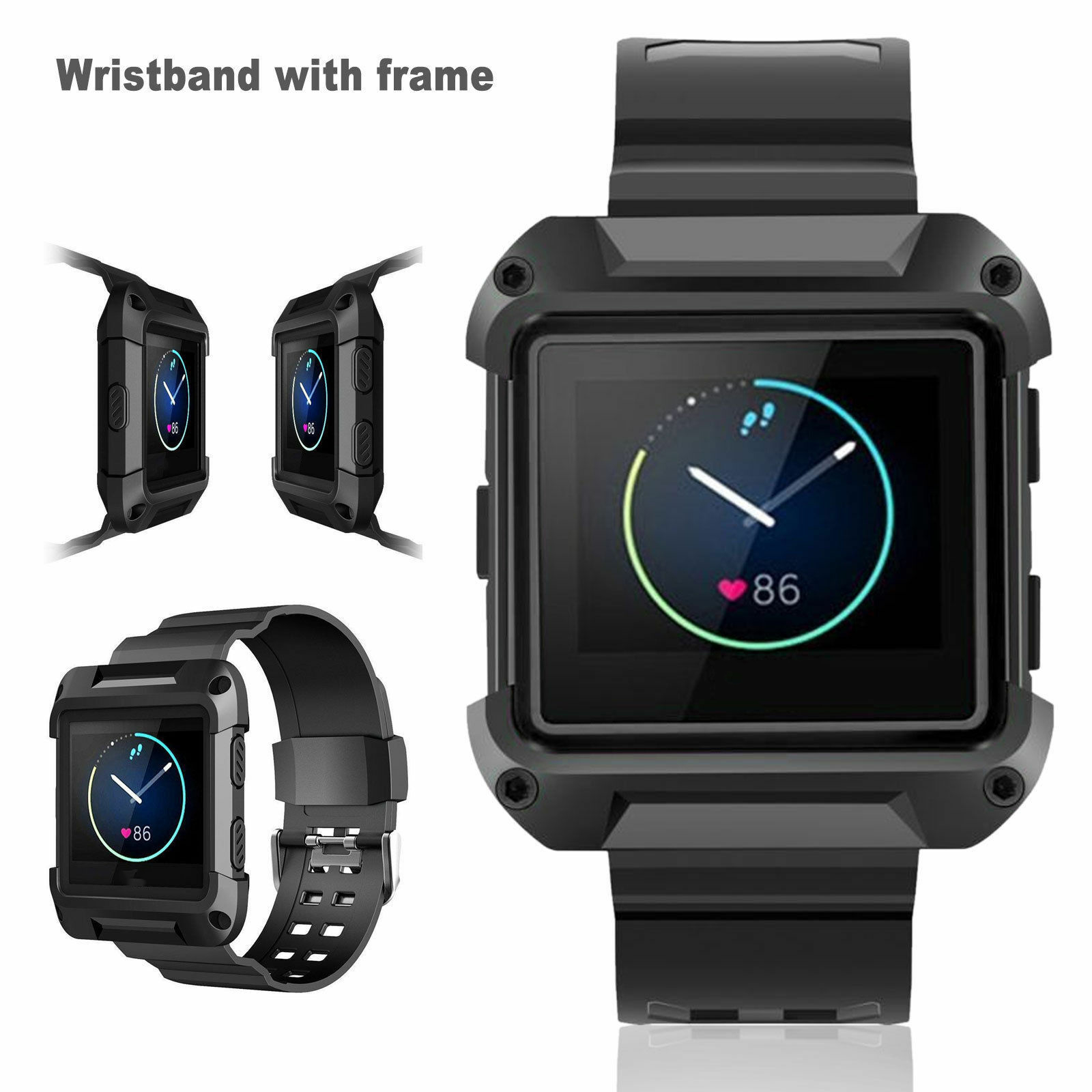Black-Armor-Replacement-Large-Wristband-Watch-Band-Strap-Frame-for-FITBIT-BLAZE thumbnail 10
