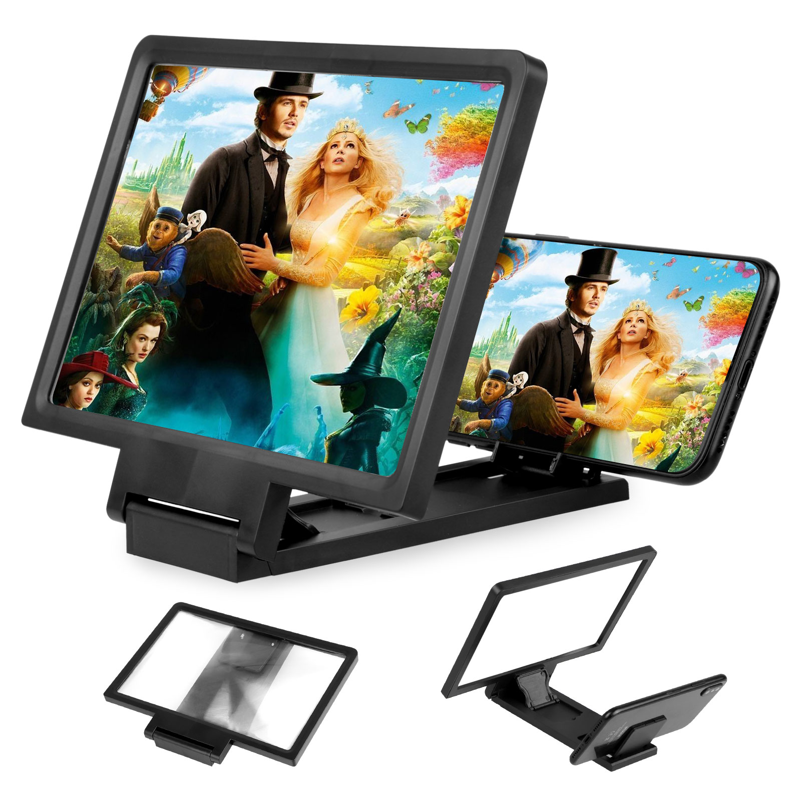 Hongyuantongxun Mobile Phone Screen Amplifier Smart Phone Universal HD Screen Amplifier Folding Stand 3D Chase Drama Watching Artifact Anti-Fatigue Black 16.710.7cm,Clear Picture