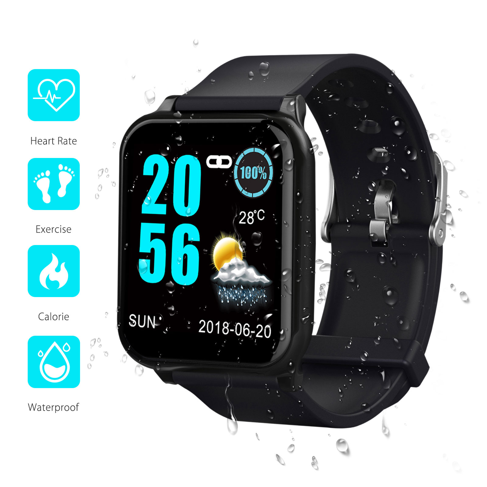 Waterproof Sports Smart Watch Heart Rate Blood Pressure Moni