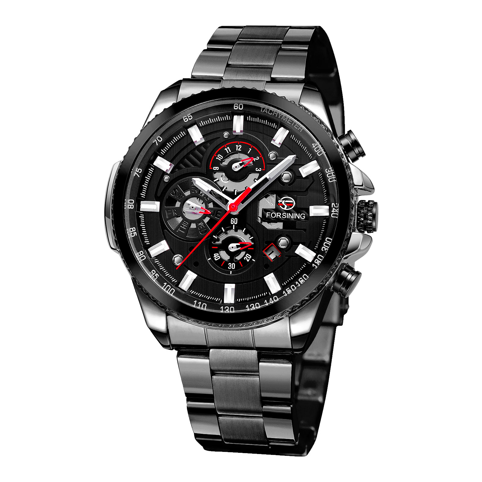 Fashion Mens Automatic Mechanical Stainless Steel Band Sport Wrist Watch