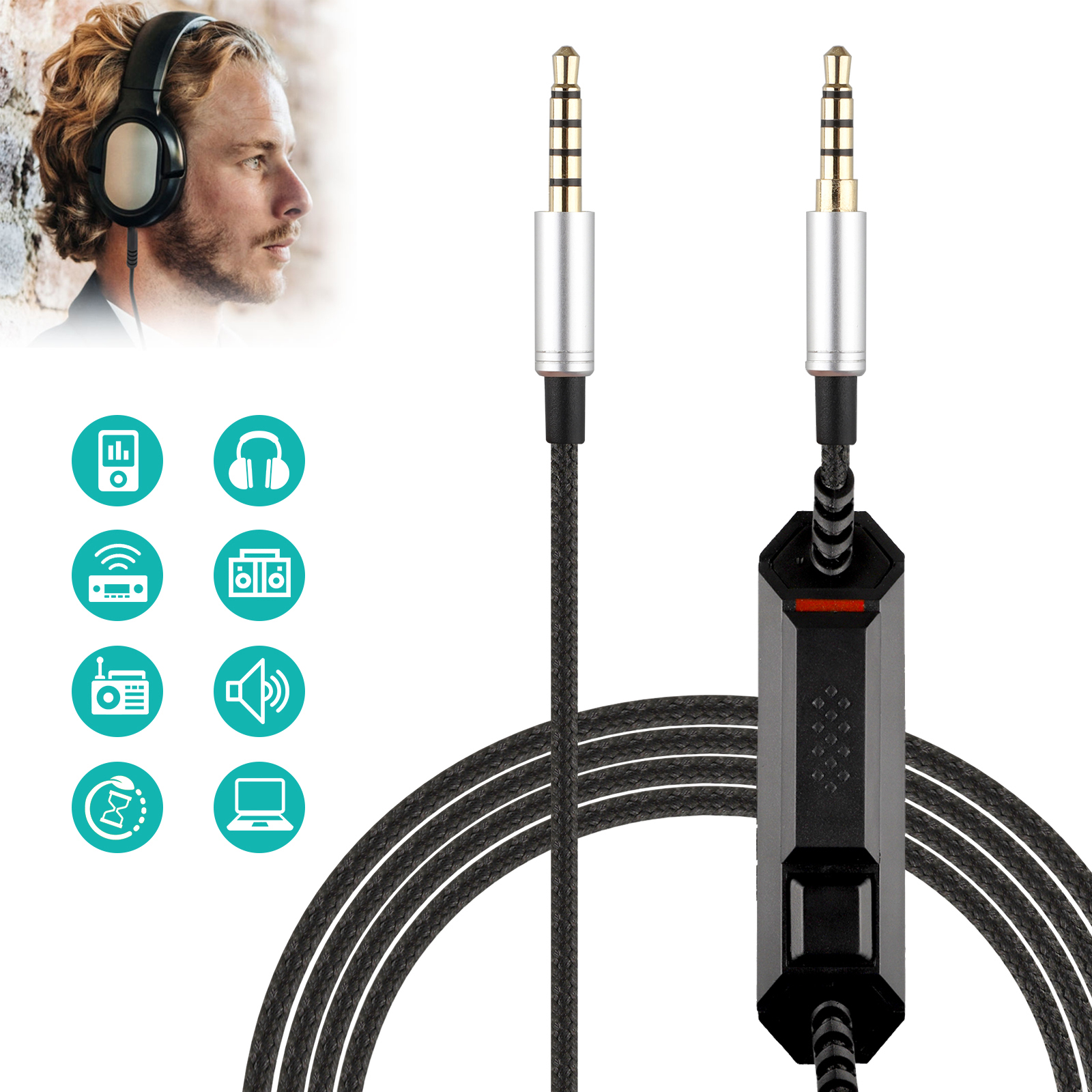 Gaming Headset Audio Cable Aux Chat Cable Cord for Astro A10
