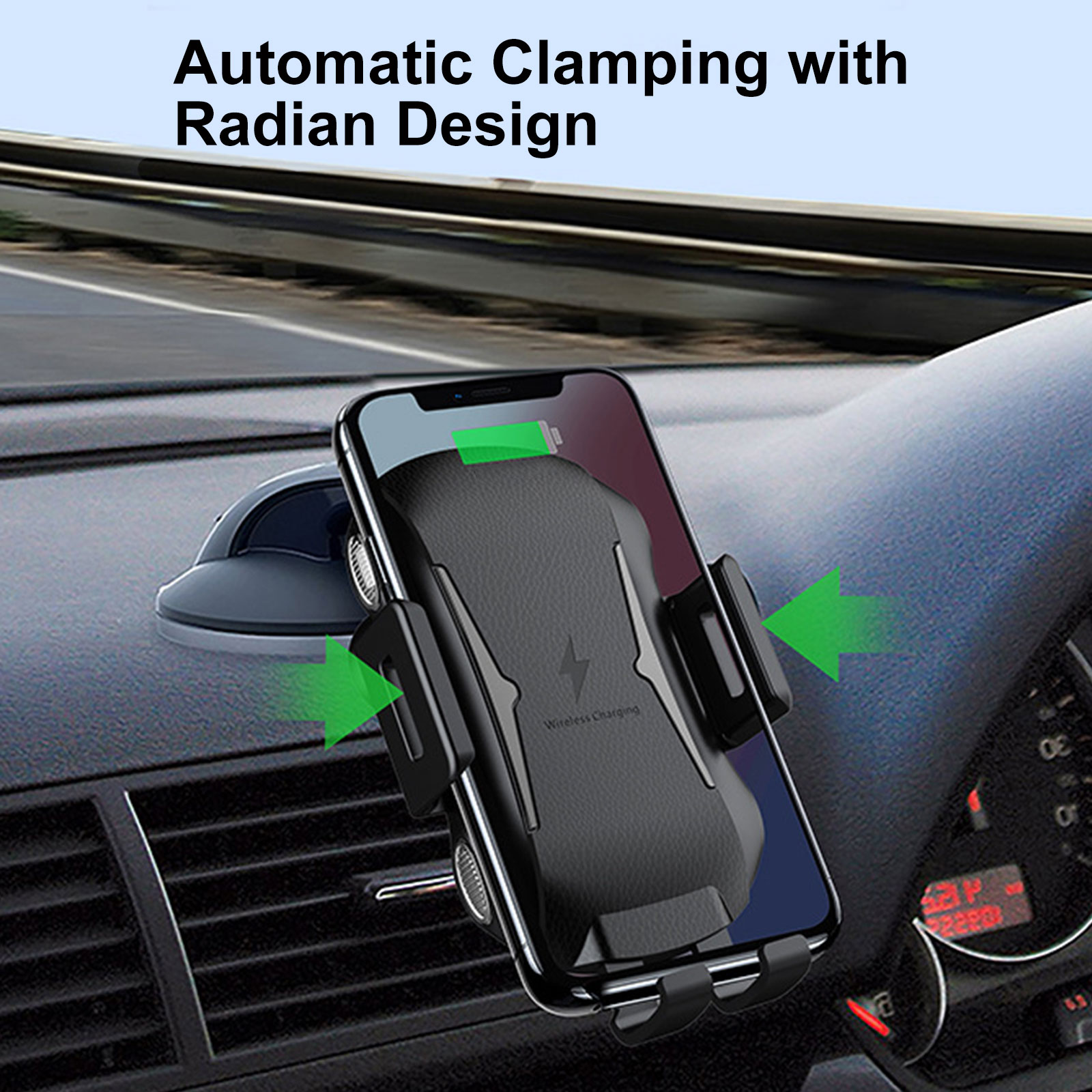 Auto clamping wireless car charger castrol power 1 r40