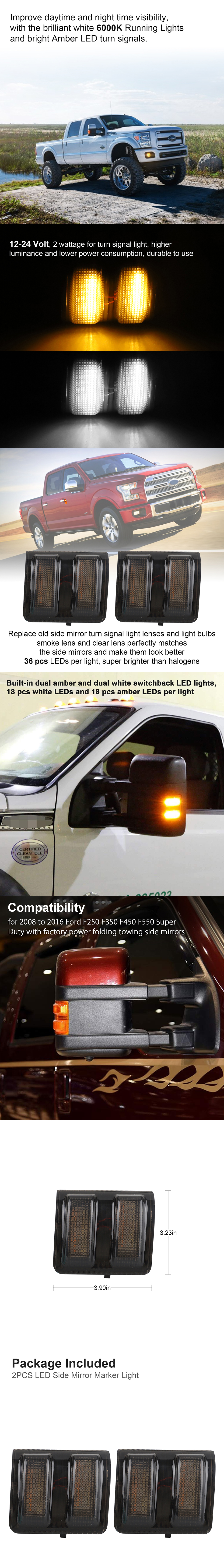 2x Smoke WHITE LED Towing Side Mirror Signal Light For FORD 2008-2016 Super Duty