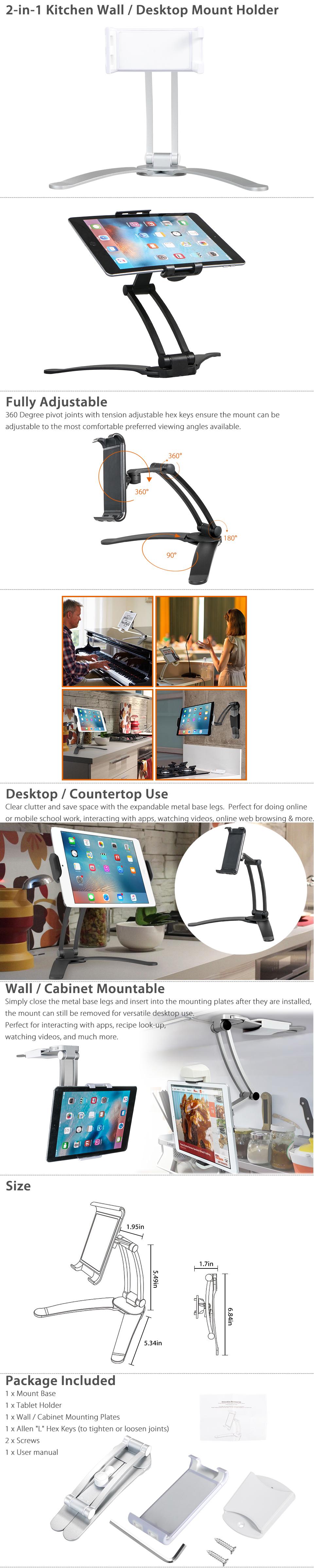 Kitchen Wall/Desktop Recipe Mount Stand Holder for 3-10inch Tablet ...