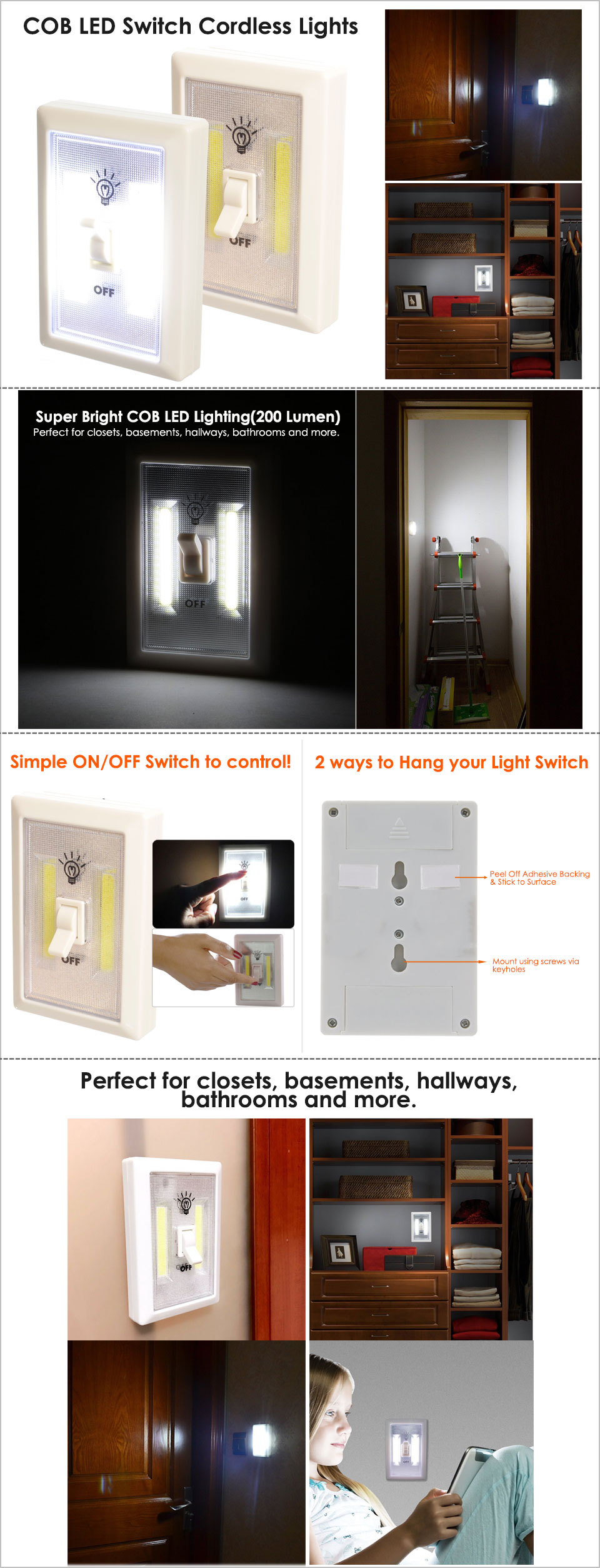 1 2 5x Cob Led Wall Switch Wireless Battery Operated Closet Cordless Wiring A House No Need To Call An Electrician You Can Have Bright Light Wherever Want It Without Expensive Or Installation Use Just Flip The