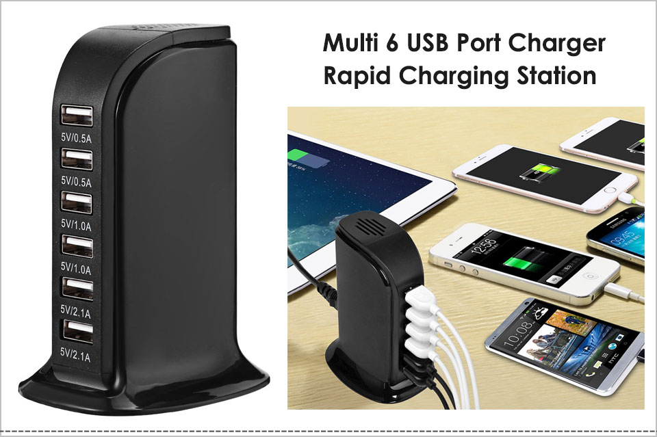 rapid charger iphone 30w 6 port multi usb charger 6a rapid charging station 9814